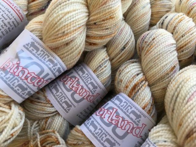 Taupe and Cream Mixed Fibers Slub Marl Yarn